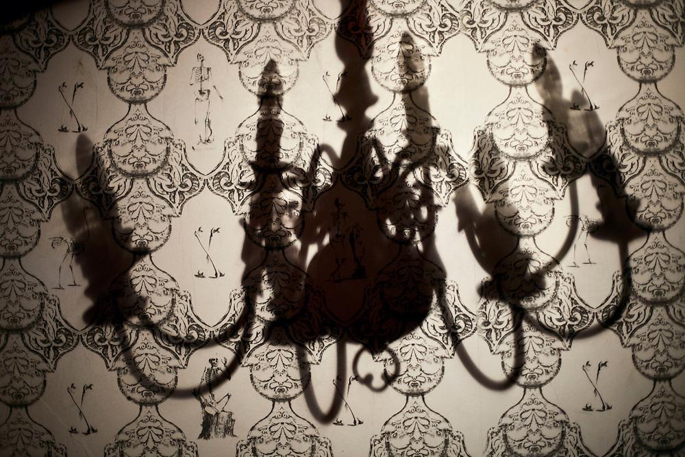 Silhouette of a chandalier. London, UK. 2011