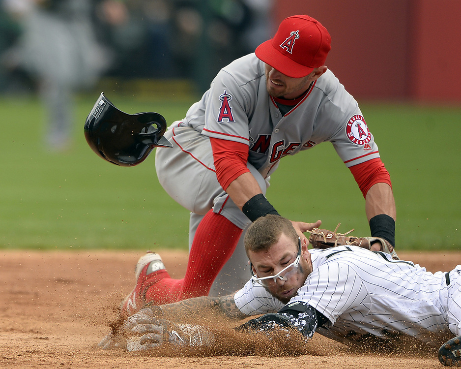 CHICAGO - APRIL 21:  Brett Lawrie #15 of the Chicago White Sox slides safely into second base with a double in the second inning against the Los Angeles Angels of Anaheim on April 21, 2016 at U.S. Cellular Field in Chicago, Illinois.  The Angels defeated the White Sox 3-2.  (Photo by Ron Vesely/MLB Photos via Getty Images)  *** Local Caption *** Brett Lawrie