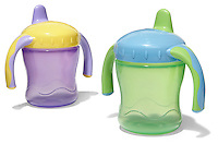 two sippy cups with handles