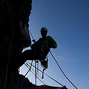Climbing instructor Brett Bloxom of Kent Mountain Adventure Centre (KMAC) breaks down the portaledge before the decent