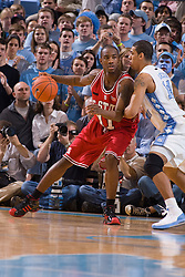 12 January 2008: North Carolina State Wolfpack forward Gavin Grant (11) guarded by Tar Heels forward Danny Green (14) during a 62-93 loss to the North Carolina Tar Heels at the Dean Smith Center in Chapel Hill, NC.