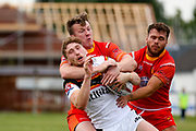 Bradford Bulls full back Ethan Ryan (2) in stopped with a high tackle during the Kingstone Press Championship match between Sheffield Eagles and Bradford Bulls at, The Beaumont Legal Stadium, Wakefield, United Kingdom on 3 September 2017. Photo by Simon Davies.