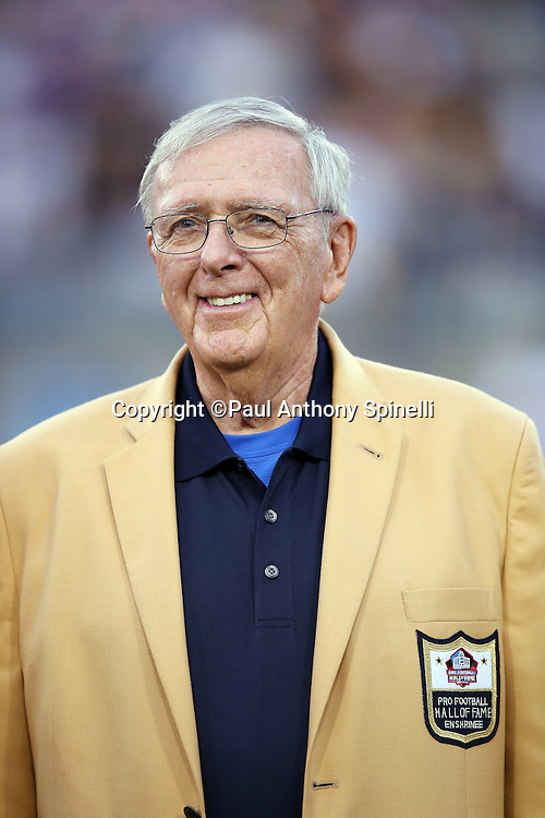Former Green Bay Packers general manager Ron Wolf looks on as he is introduced as a newly enshrined member of the NFL Pro Football Hall of Fame before the Pittsburgh Steelers 2015 NFL Pro Football Hall of Fame preseason football game against the Minnesota Vikings on Sunday, Aug. 9, 2015 in Canton, Ohio. The Vikings won the game 14-3. (©Paul Anthony Spinelli)