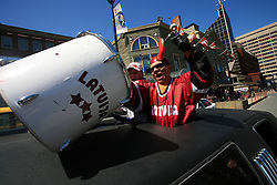 Latvian fans in a limo at ice-hockey IIHF WC 2008 in Halifax, on May 04, 2008, infront of Metro Center, Halifax, Nova Scotia, Canada. (Photo by Vid Ponikvar / Sportal Images)