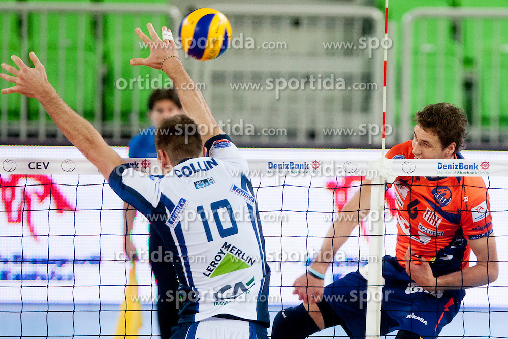 Collin #10 of Tours VB and Jan Pokersnik #6 of ACH Volley during volleyball match between ACH Volley (SLO) and Tours VB (FRA) in 3rd Round of CEV Champions League on November 5, 2013 in Arena Stozice, Ljubljana, Slovenia. (Photo by Urban Urbanc / Sportida)