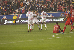 March 1, 2018 - Harrison, New Jersey, United States - Players of New York Red Bulls Celebrate goal by Sean Davis (27) during 2018 CONCACAF Champions League round of 16 game against CD Olimpia of Honduras at Red Bull arena, Red Bulls won 2 - 0  (Credit Image: © Lev Radin/Pacific Press via ZUMA Wire)