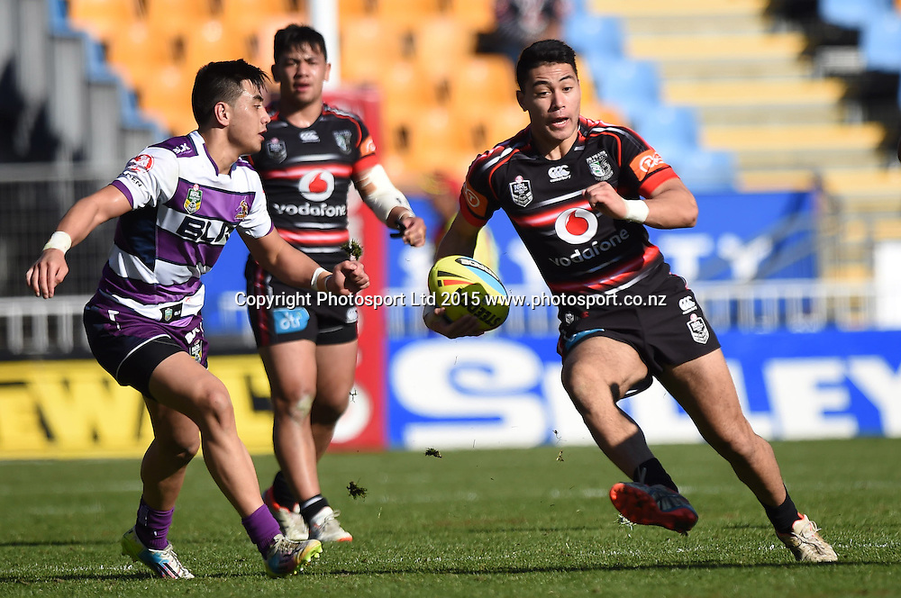 Levi McBirney during the Junior Warriors v Junior Storm match. NYC Holden Cup U20s Rugby League. Mt Smart Stadium, Auckland. New Zealand. Sunday 12 July 2015. Copyright Photo: Andrew Cornaga / www.Photosport.nz