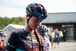 Christa Riffel (GER) makes her way to sign on at Ladies Tour of Norway 2018 Stage 3. A 154 km road race from Svinesund to Halden, Norway on August 19, 2018. Photo by Sean Robinson/velofocus.com