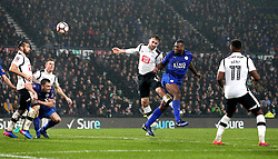 Wes Morgan of Leicester City scores an equalising goal to make it 2-2 - Mandatory by-line: Robbie Stephenson/JMP - 27/01/2017 - FOOTBALL - iPro Stadium - Derby, England - Derby County v Leicester City - Emirates FA Cup fourth round