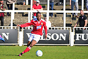 Wrexham Forward Iffy Allen in action during the Vanarama National League match between Bromley FC and Wrexham FC at Hayes Lane, Bromley, United Kingdom on 8 April 2017. Photo by Jon Bromley.