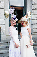 30/07/2015 Ireland&rsquo;s leading model, Roz Purcell,  judgedt the 4 star,  Hotel Meyrick&rsquo;s annual most stylish lady competition on Kilkenny's Ladies Day of Galway Race Week 2015.  <br /> Linda Morrison, Kildare with Anne Marie Corbett Co. Cork Photo: Andrew  Downes xposure