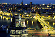 France. Paris. elevated view on  The Seine river Notre dame cathedral and ile de la cite. view from The hotel de ville bell tower