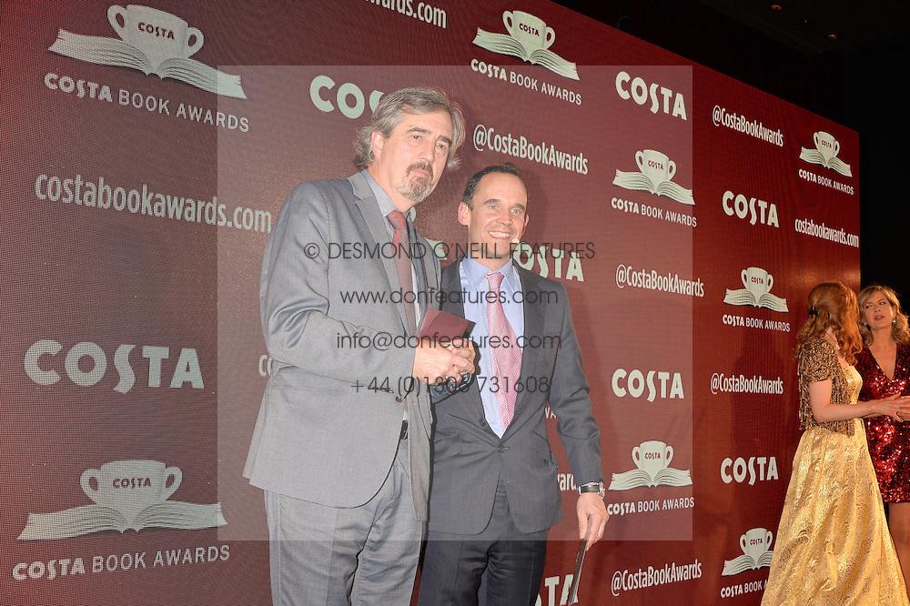 Sebastian Barry, winner of the Costa Book of the Year Award and Dominic Paul, Managing Director of Costa at the Costa Book of The Year Awards held at Quaglino's, 16 Bury Street, London England. 31 January 2017.