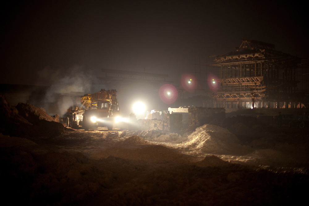 Construction site by night.