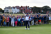 Tom Sloman (GB&I) celebrates holing a putt on the 18th green to win his match 1up during the Sunday Singles in the Walker Cup at the Royal Liverpool Golf Club, Sunday, Sept 8, 2019, in Hoylake, United Kingdom. (Steve Flynn/Image of Sport)