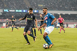 October 21, 2017 - Napoli, Napoli, Italy - Naples - Italy 21/10/2017.FAOUZI GHOULAM of  S.S.C. NAPOLI   and JOAO CANCELO of  Inter  fights for the ball during Serie A  match between S.S.C. NAPOLI and Inter  at Stadio San Paolo of Naples. (Credit Image: © Emanuele Sessa/Pacific Press via ZUMA Wire)