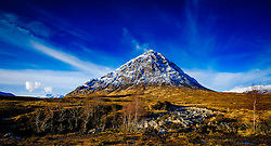 Dramatic winter slies over Buachaille Etive Mor at the head of Glen Etive, Rannoch Moor, Highlands of Scotland<br /> <br /> (c) Andrew Wilson | Edinburgh Elite media