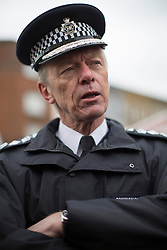 © licensed to London News Pictures. London, UK 25/03/2013. Metropolitan Police Service Commissioner Sir Bernard Hogan-Howe joins members of the Dalston Safer Neighbourhood Team on their local beat to launch the Mayor's Police and Crime Plan on Dalston Kingsland High Street in London. Photo credit: Tolga Akmen/LNP