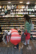 Myeong-dong shopping district. Cheap shoes.