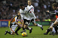 Photo: Pete Lorence.<br />Derby County v Hull City. Coca Cola Championship. 10/02/2007.<br />Giles Barnes powers through Hull's defence.