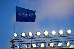 LIVERPOOL, ENGLAND - Tuesday, September 18, 2018: The UEFA Respect flag flutters above the floodlights during the UEFA Youth League Group C match between Liverpool FC and Paris Saint-Germain at Langtree Park. (Pic by David Rawcliffe/Propaganda)
