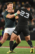 JOHANNESBURG, South Africa, 25 July 2015 : Handré Pollard of the Springboks is handed off by Malakai Fekitoa of the All Blacks during the Castle Lager Rugby Championship test match between SOUTH AFRICA and NEW ZEALAND at Emirates Airline Park in Johannesburg, South Africa on 25 July 2015. Bokke 20 - 27 All Blacks<br /> <br /> © Anton de Villiers / SASPA