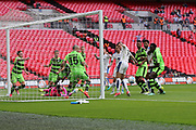 Forest Green Rovers goalkeeper Sam Russell(23) makes a save during the Vanarama National League Play Off Final match between Tranmere Rovers and Forest Green Rovers at Wembley Stadium, London, England on 14 May 2017. Photo by Shane Healey.