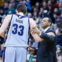 02 January 2013: Memphis Grizzlies head coach Lionel Hollins talks to Memphis Grizzlies center Marc Gasol (33) during the Memphis Grizzlies 93-83 victory over the Boston Celtics at the TD Garden, Boston, Massachusetts, USA.