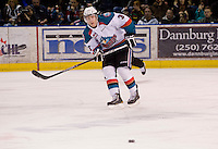 KELOWNA, CANADA, DECEMBER 27: Kevin Smith #3 of the Kelowna Rockets skates with the puck against the Spokane Chiefs at the Kelowna Rockets on December 7, 2011 at Prospera Place in Kelowna, British Columbia, Canada (Photo by Marissa Baecker/Getty Images) *** Local Caption ***
