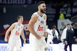 03.12.2015, Palacio de los Deportes, Madrid, ESP, FIBA, EL, Real Madrid vs Fenerbahce Ulker Istanbul, Halbfinale, im Bild Real Madrid's Jeffery Taylor (r) and Luka Doncic celebrate // during thesemifinall Match of the Turkish Airlines Basketball Euroleague between Real Madrid and Fenerbahce Ulker Istanbul at the Palacio de los Deportes in Madrid, Spain on 2015/12/03. EXPA Pictures © 2015, PhotoCredit: EXPA/ Alterphotos/ Acero<br /> <br /> *****ATTENTION - OUT of ESP, SUI*****