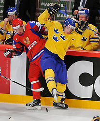 11.05.2012, Ericsson Globe, Stockholm, SWE, IIHF, Eishockey WM, Russland (RUS) vs Schweden (SWE), im Bild, Sverige Sweden 28 Jonas Brodin (Fa¨rjestads BK) Russia 52 Sergei Shirokov (CSKA Moscow) takle // during the IIHF Icehockey World Championship Game between Russia (RUS) and Sweden (SWE) at the Ericsson Globe, Stockholm, Sweden on 2012/05/11. EXPA Pictures © 2012, PhotoCredit: EXPA/ PicAgency Skycam/ Simone Syversson..***** ATTENTION - OUT OF SWE *****