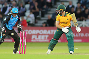 Dan Christian of Nottinghamshire Outlaws is out caught behind by Ben Cox of Worcestershire Rapids during the Vitality T20 Blast North Group match between Nottinghamshire County Cricket Club and Worcestershire County Cricket Club at Trent Bridge, West Bridgford, United Kingdon on 18 July 2019.