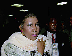 July 14, 1992 - New York, New York, U.S.: American singer, The Queen of Soul, ARETHA FRANKLIN, 50, after singing the United States of America National Anthem (The Star-Spangled Banner), at the opening of the second night of the Democratic National Convention in Madison Square Garden. This is considered, one of the best renditions of the song ever. (Credit Image: © Mark Reinstein/ZUMA Wire)