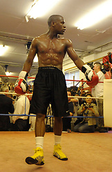 Floyd Mayweather Jnr makes his first gym appearance in front of the world's press at the famous Peacock Gym, East London, 22nd May 2009. Floyd Mayweather is returning to the ring against Juan Manuel Marquez on July 18th 2009 after a short retirement.