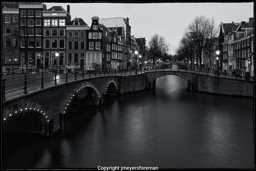 Amsterdam canals after dark