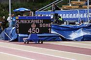 16.6.2013, Paavo Nurmen stadion, Turku.<br /> Paavo Nurmi Games 2013<br /> Naiset seiväs.<br /> Minna Nikkasen ennätysyritys taululla.