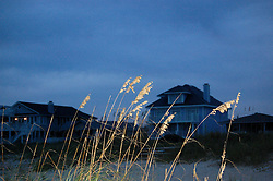 Evening at the Beach, Sea Oats and Cottages