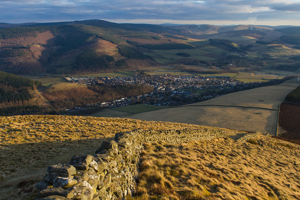 The town of Innerleithen from Lee Penn in the Scottish Borders