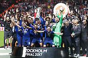 STOCKHOLM, 2017-05-24: Spelare i of Manchester United jublar under UEFA Europa League Finalen mellan Ajax och Manchester United p&aring; Friends Arena den 24,maj 2017 i Stockholm, Sverige.  Foto: Nils Petter Nilsson/Ombrello<br /> ***BETALBILD***