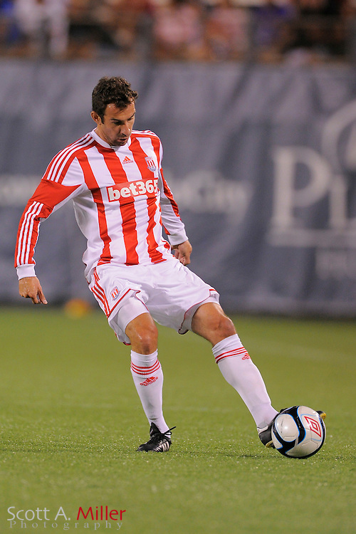 Stoke City Potters defender Danny Higginbotham (3) during the Potters game aginst the Orlando City Lions at the Florida Citrus Bowl on July 28, 2012 in Orlando, Florida. Stoke won 1-0...© 2012 Scott A. Miller.