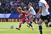 Middlesbrough Defender,  Rhys Williams  and Bolton Wanderers Forward, Zach Clough during the Sky Bet Championship match between Bolton Wanderers and Middlesbrough at the Macron Stadium, Bolton, England on 16 April 2016. Photo by Mark Pollitt.
