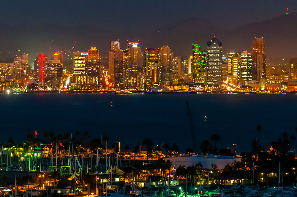 Skyline of Downtown San Diego, California USA. Shelter Island Yacht Basin in foreground.