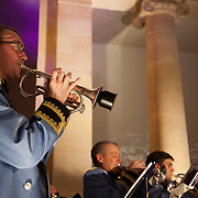 Jeremy Deller's Acid Brass featuring Fairey Brass Band in the Duveen Galleries. Late at Tate Britain. A free evening of performance and installations from Warp Records and Jeremy Deller, inspired by Deller's work 'The History of the World'.