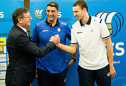 Aleksandar Boricic, president of CEV,  Andrea Giani, head coach of Slovenian team and Alen Pajenk during press conference of Slovenian Volleyball Federation before FIVB Volleyball World League tournament in Ljubljana, on May 5, 2016 in Hotel Spik, Gozd Martuljek, Slovenia. Photo by Vid Ponikvar / Sportida