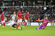 Derby County forward Mason Bennett (20) shoots at goal during the EFL Sky Bet Championship match between Derby County and Bristol City at the Pride Park, Derby, England on 20 August 2019.