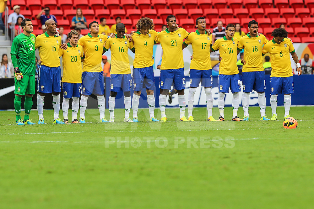 BRASILIA, BRAZIL - SEPTEMBER 07: Players  during a FIFA Friendly match between Brazil and Australia at Mane Garrincha Stadium on September 07, 2013 in Brasilia, Brazil. (Photo by William Volcov/LatinContent/Getty Images)