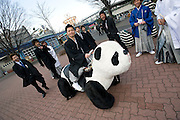 A group of 20-year-old Japanese men enjoy a ride on an attraction during an event to mark Coming-of-Age Day at an amusement park in Tokyo, Japan on Monday Jan. 11, 2009. Japanese enter adulthood at 20, when they can legally smoke, drink alcohol and vote, though debate is heating up as to whether or not the age should be lowered to 18 in line with many advanced countries. Indeed, the Japanese government plans to lower the voting age to 18 as of mid-2010.   .Photographer: Robert GilhoolyCOMING OF AGE