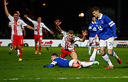 Picture by David Horn/Focus Images Ltd +44 7545 970036<br /> 25/01/2014<br /> Simon Heslop of Stevenage is fouled by Bryan Oviedo of Everton during the The FA Cup match at the Lamex Stadium, Stevenage.