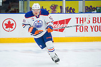 PENTICTON, CANADA - SEPTEMBER 17: Lane Bauer #58 of Edmonton Oilers skates against the Calgary Flames on September 17, 2016 at the South Okanagan Event Centre in Penticton, British Columbia, Canada.  (Photo by Marissa Baecker/Shoot the Breeze)  *** Local Caption *** Lane Bauer;