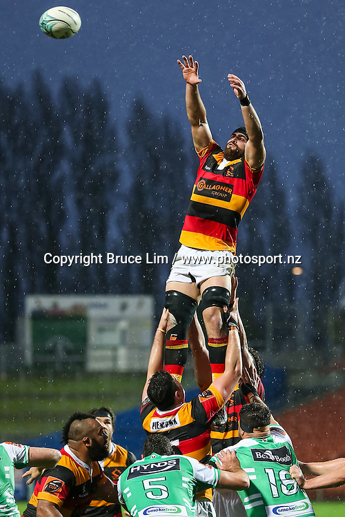 Waikato replacement Brad Tucker secures line out ball during round 3 of the Mitre 10 Cup rugby union national provincial championship - Waikato v Manawatu played at FMG Stadium Waikato, Hamilton, New Zealand on Sunday 4 September 2016.  <br /> <br /> Copyright Photo: Bruce Lim / www.photosport.nz
